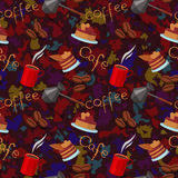 Spots seamless background with scattering of coffee beans and lettering. Seamless coffee pattern in pale brown colors. Royalty Free Stock Photo
