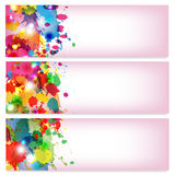 Spots of varicoloured paint. On a pink background Stock Images