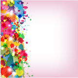 Spots of varicoloured paint. On a pink background Stock Photo