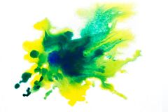 yellow green, blurry spot of watercolor paint. background stock photos