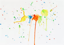 Spots of watercolor paint on a white paper Stock Image