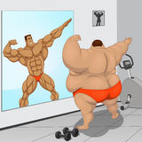 Spotsmen and fatso. Vector illustration, the athlete and the fatso Stock Photos