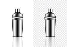Spott 3D herauf das realistische metallische Shaker Bottle For Cocktail Alcohol-Parteiereignis lokalisiert auf transparentem Hint stock abbildung