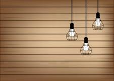 Spott 3D herauf realistische Holz-und Lampen-Licht-Hintergrund-Illustration lizenzfreie abbildung