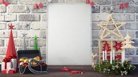 Spott herauf Bilderrahmen- und Weihnachtsdekoration und Geschenke 3d übertragen lizenzfreie stockfotografie