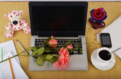 Spott herauf Gegenstände wie Computer, Smartphone Stockfoto