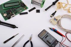Spott herauf Gegenstände wie industrielle Prüfer stockbild