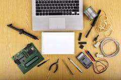 Spott herauf Gegenstände wie industrielle Prüfer lizenzfreie stockfotografie