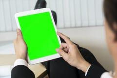 Spott herauf grünen Schirm auf Anzeigenmit berührungseingabe bildschirm Stockbilder