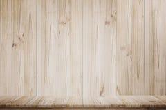 Spott herauf Holztischperspektivenansicht Stockbilder