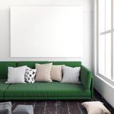 Spott herauf Plakat im Innenraum mit Sofa Eckiges Sofa und Abendessenlastwagen im Innenraum stillstehendes plac Lizenzfreie Stockfotos