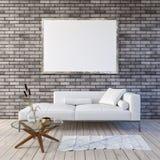 Spott herauf Plakat mit Weinlesehippie-Dachbodeninnenhintergrund 3D übertragen lizenzfreie stockfotos