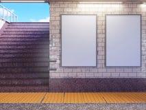 Spott herauf Plakatmedienschablone Anzeigenanzeige in der U-Bahnstations-Rolltreppe Abbildung der Wiedergabe 3d lizenzfreie stockfotografie
