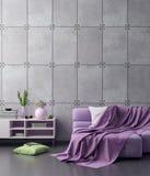 Spott herauf Plakatrahmen im Hippie-Innenhintergrund in den rosa Farben und in der Betonmauer, 3D übertragen, Illustration 3D Stockbild
