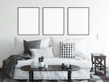Spott herauf Poster im Wohnzimmerinnenraum Skandinavische Innenart 3D Wiedergabe, Illustration 3D vektor abbildung