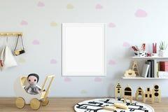 Spott herauf Wand im Kinderrauminnenraum Skandinavische Innenart 3D Wiedergabe, Illustration 3D Lizenzfreies Stockfoto