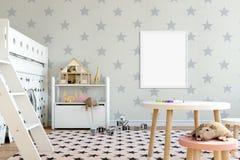 Spott herauf Wand im Kinderrauminnenraum Skandinavische Innenart 3D Wiedergabe, Illustration 3D Stockbilder