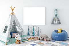Spott herauf Wand im Kinderrauminnenraum Skandinavische Innenart 3D Wiedergabe, Illustration 3D Lizenzfreie Stockfotos