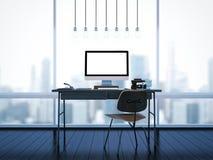 Spott oben des klassischen Arbeitsplatzes mit Fenstern 3d Lizenzfreies Stockbild