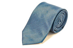 Spotted blue tie close up on white background Stock Photo