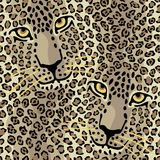 Spotted Cats. Seamless pattern of two big cats Stock Photography