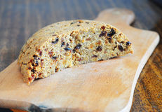 Spotted dick is a British pudding, made with suet and dried fruit Stock Image