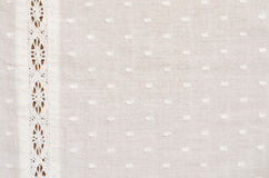 Spotted fabric with a lace. Spotted fabric with a strip of lace Royalty Free Stock Image