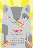 Spotted a gray cat on yellow background. January calendar. Stock Photography