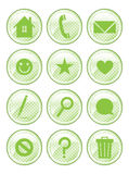Spotted Green Action Buttons. A set of 12 glossy action buttons vector illustration