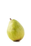 Spotted green pear. Single isolated healthy ripe spotted green pear with a stem on a white background Stock Images