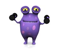 A spotted monster exercising with dumbbells. Royalty Free Stock Photography