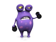 A spotted monster exercising with dumbbells. A cute charming cartoon monster exercising with dumbbells. He looks like it's too heavy. The monster is purple with Royalty Free Stock Photo