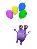 A spotted monster flying with balloons. Royalty Free Stock Image