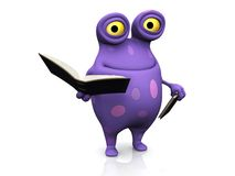 A spotted monster holding books. Stock Images