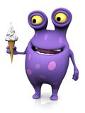 A spotted monster holding an ice cream. A cute charming cartoon monster holding a soft ice cream cone in his hand. The monster is purple with big spots. White Royalty Free Stock Photography