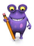 A spotted monster holding a large pencil. Royalty Free Stock Image