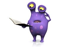 A spotted monster reading book and looking confused. Royalty Free Stock Image