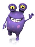 A spotted monster waving and looking very happy. Royalty Free Stock Photo