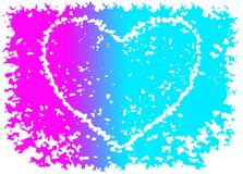 Splashy image romantic Valentine`s heart. Spotted picture of heart in zingy rainbow colors turquoise violet and pink gradient art with a white cloudy border Stock Illustration