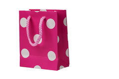 Spotted Pink gift packet isolated on white Royalty Free Stock Images