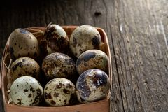 Quail eggs in a box on a vintage wooden background, top view, selective focus. Spotted quail eggs arranged in rows in a box on a vintage wooden background, top Royalty Free Stock Photos