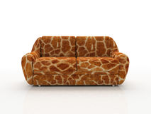 Spotted sofa with imitation under skin of the giraffe. 3D stock image