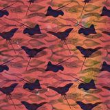 Spotted stingray, hand painted watercolor illustration, seamless pattern on red ocean surface with waves. Background Stock Photo