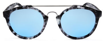 Free Spotted Sunglasses Blue Mirror Lenses Isolated On White Backgrou Royalty Free Stock Photography - 92198647
