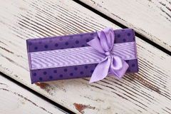 Spotted violet present box. Royalty Free Stock Photo