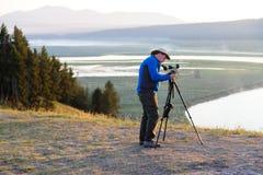 Spotters животных настраивая их шестерню в долине Hayden Стоковая Фотография RF