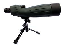 Spotting Scope. Isolated green and black spotting scope able to zoom in 60X Stock Photos