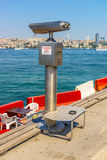 Spotting scope pipe on the beach in Istambul Royalty Free Stock Image