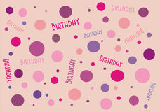 Spotty Birthday Banner. Circular shades of pinks and purples celebrate this birthday banner. card, wallpaper or website image Royalty Free Stock Photo