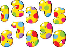 Spotty cartoon numbers Stock Photos